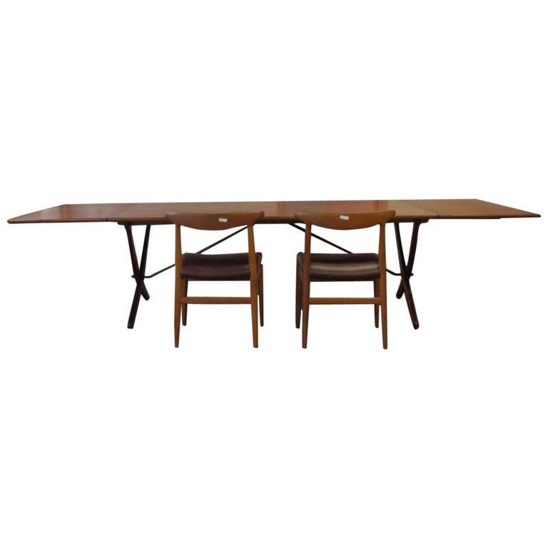 Rare Hans Wegner AT-314 Dining Table in Teak by Andreas Tuck