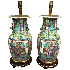 Pair of Rose Medallion Vases Turned Lamps