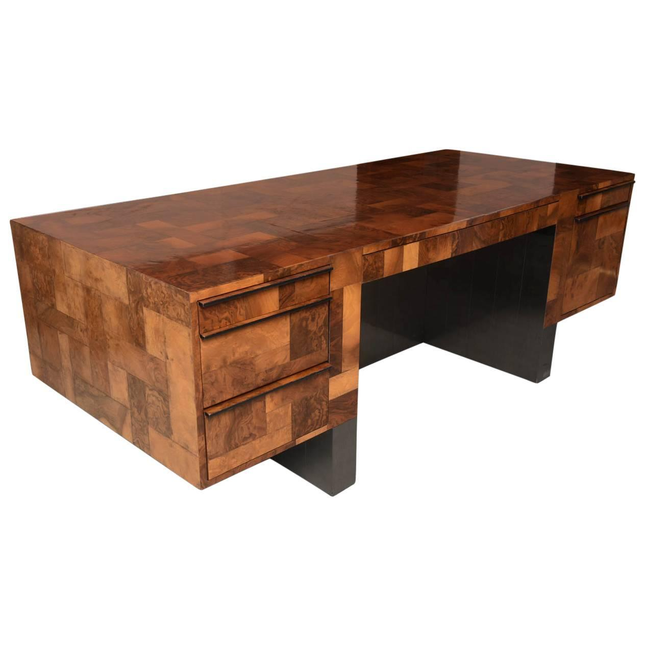 American Modern Burled Walnut And Pewter Cityscape Desk