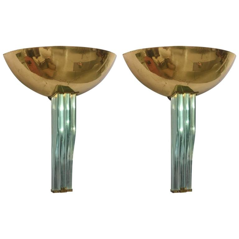 Pair of Italian Modern Brass and Glass Wall Lights, Pietro Chiesa/Fontana Arte