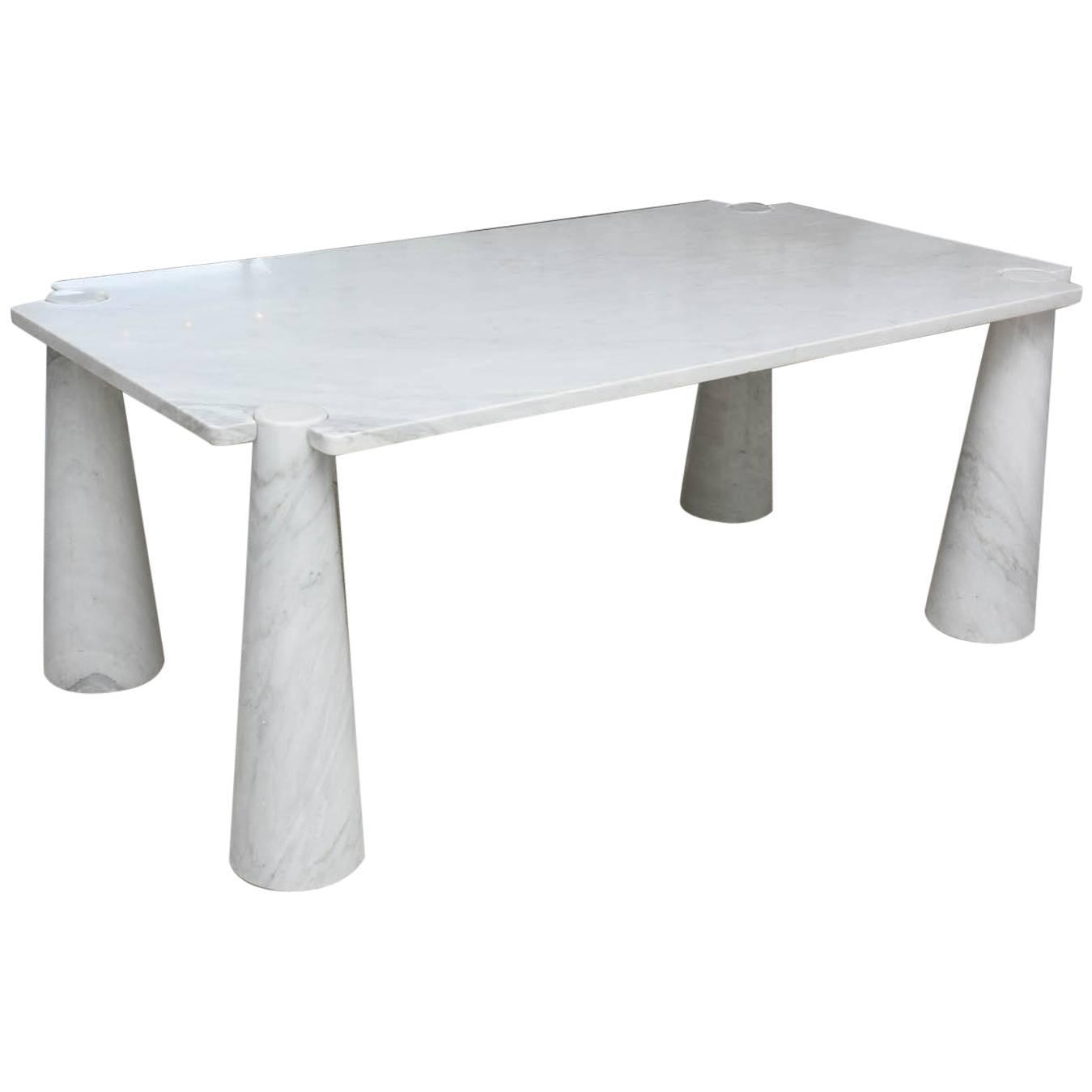 Italian modern carrera marble eros center dining table for Table carrera