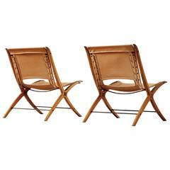 Pair of 'X' Chairs by Peter Hvidt & Orla Mølgaard Nielsen