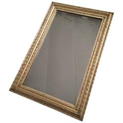 19th Century Silver Gilt Ripple Frame with Antique Mirror