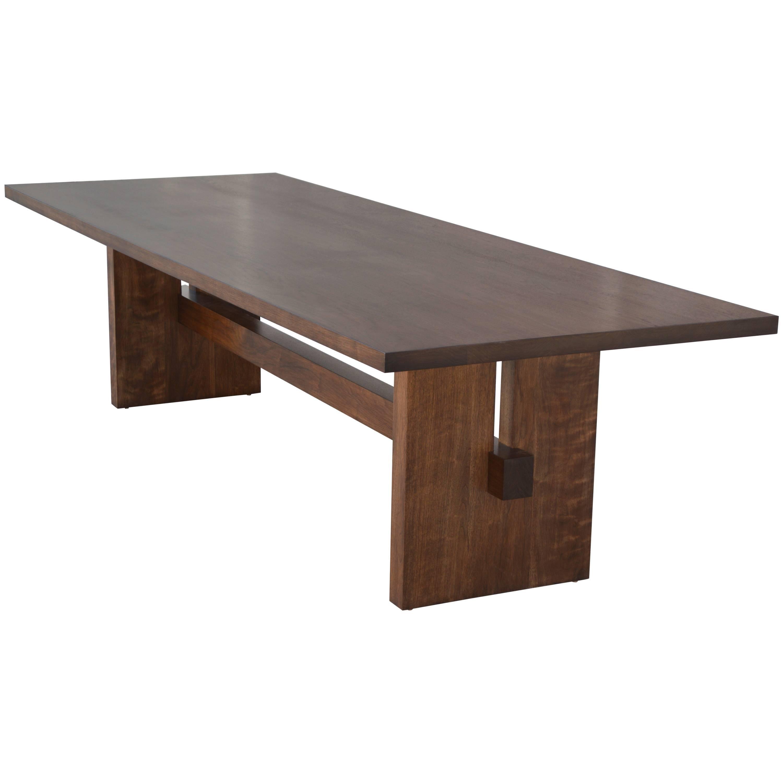 Black Walnut Trestle Table, Custom Made by Petersen Antiques