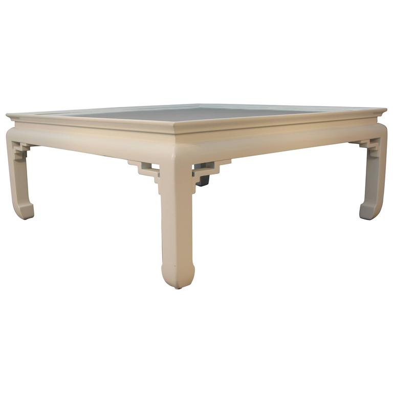White Lacquered Asian Coffee Table 1