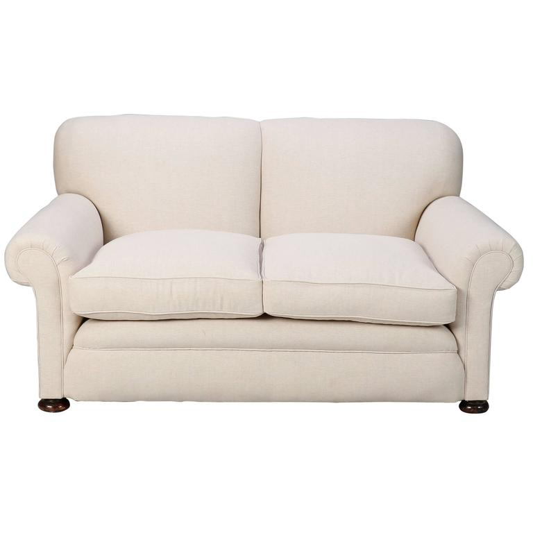 Small English Club Sofa In Belgian Linen For
