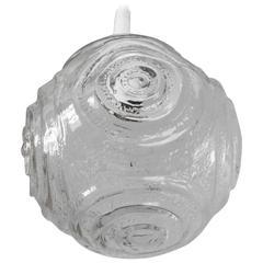 Midcentury Single Round Molded Glass Pendant Light