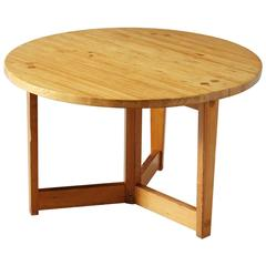 Round Dining Table by Jacob Kielland-Brandt in Solid Pinewood