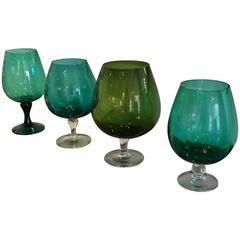 Four Hand Blown in Multi-Green Hues Large Brandy Snifters, Vases