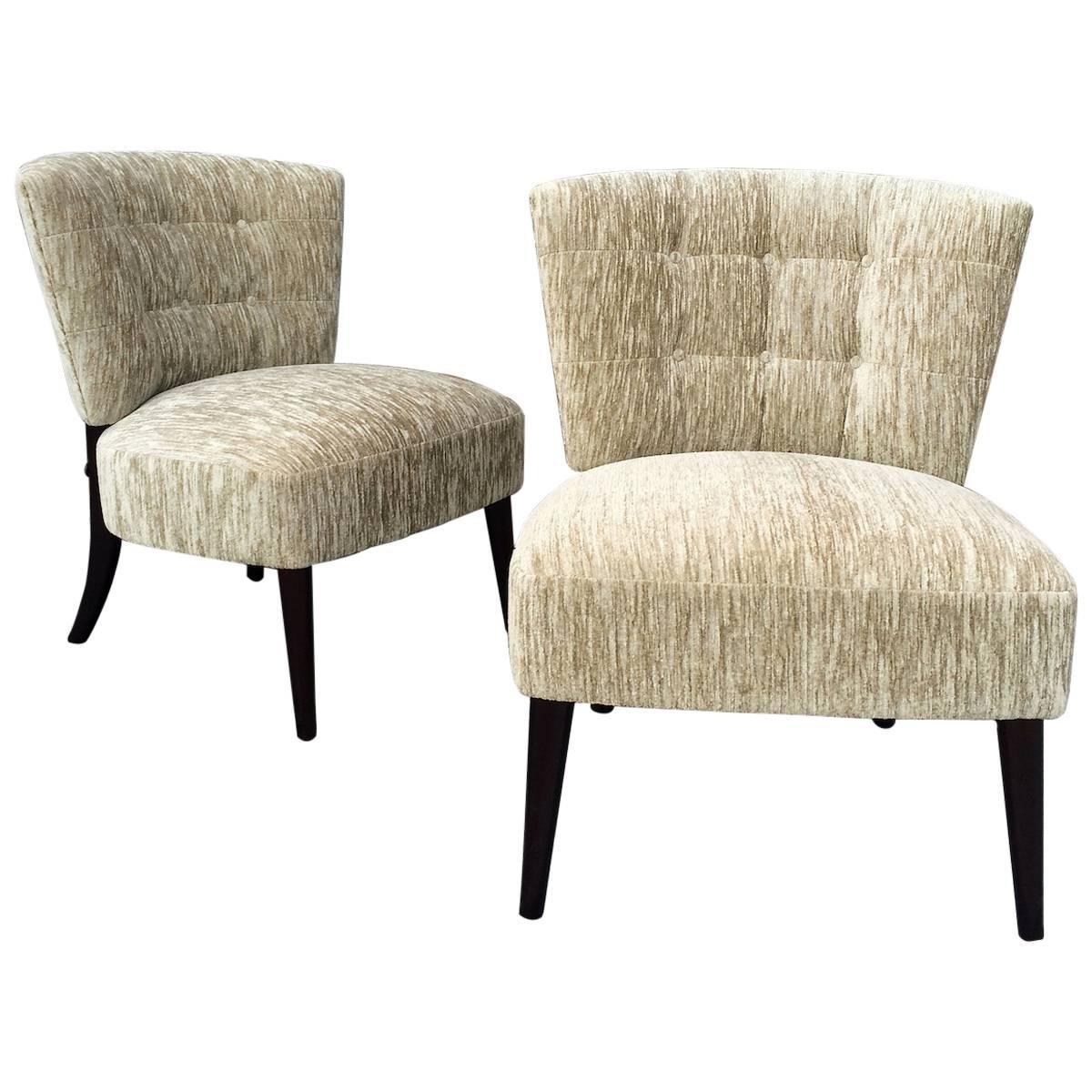 Mid Century Hollywood Regency Velvet Slipper Chairs by