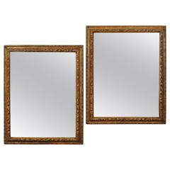 Pair of Italian Late Baroque Carved Silver Gilt Frames as Mirrors