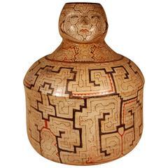 Mid-20th Century Tribale Double Faced Figurative Ceramic Pot