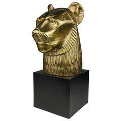 Large Handsome Brass Lion Head Sculpture by Chapman, 1979