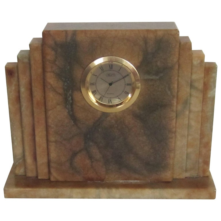 Designer Italian Alabaster Marble Art Deco Modern Mantel Clock by Oggetti For Sale 11