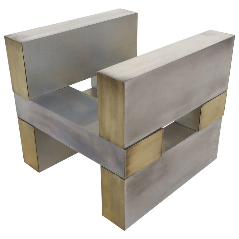 Aluminum and Brass Cocktail Table Base by Paul Mayen for Habitat