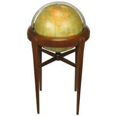 Replogle Illuminated Glass Globe on Mahogany Articulated Stand, circa 1940s
