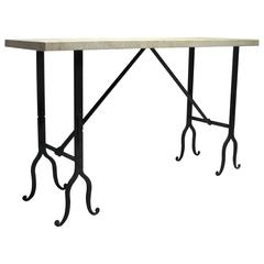 Travertine and Wrought Iron Console