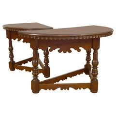 Pair of Italian Baroque Walnut Demilune Console Tables, 18th Century and Later