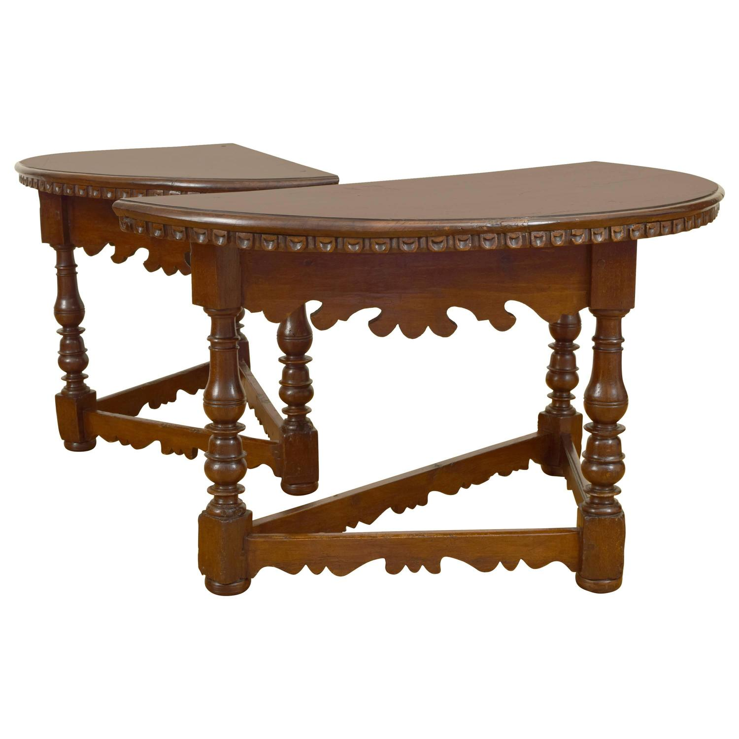 Pair of italian baroque walnut demilune console tables 18th pair of italian baroque walnut demilune console tables 18th century and later at 1stdibs geotapseo Gallery