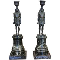 Pair of 19th Century Green Marble Egyptian Style Candlesticks with God Figure