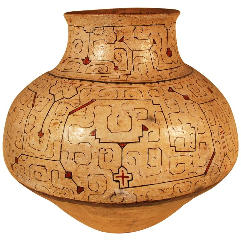 Mid-20th Century Large Tribal Ceramic Pot, Shipibo Culture Peruvian Amazon