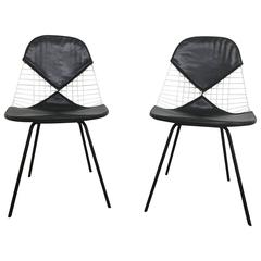 """Pair of Early Eames Wire """"Bikini"""" Chairs, 1950s"""