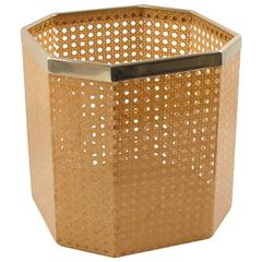 Vintage 1970s Lucite and Rattan Waste Basket for Christian Dior Home Collection