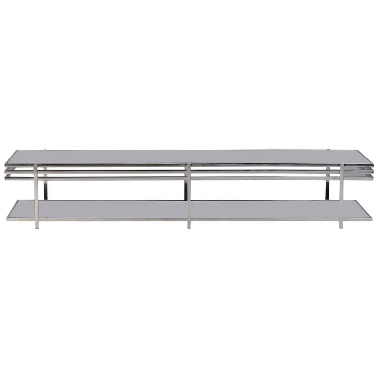 Midcentury Long And Low Black Glass Chrome Coffee Table For
