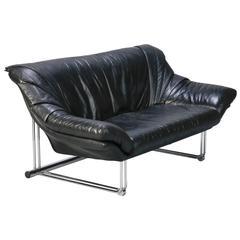 Midcentury Black Leather Sofa with Chrome Base