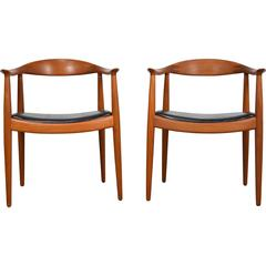 "Hans Wegner Pair of ""Round"" Chairs in Teak"