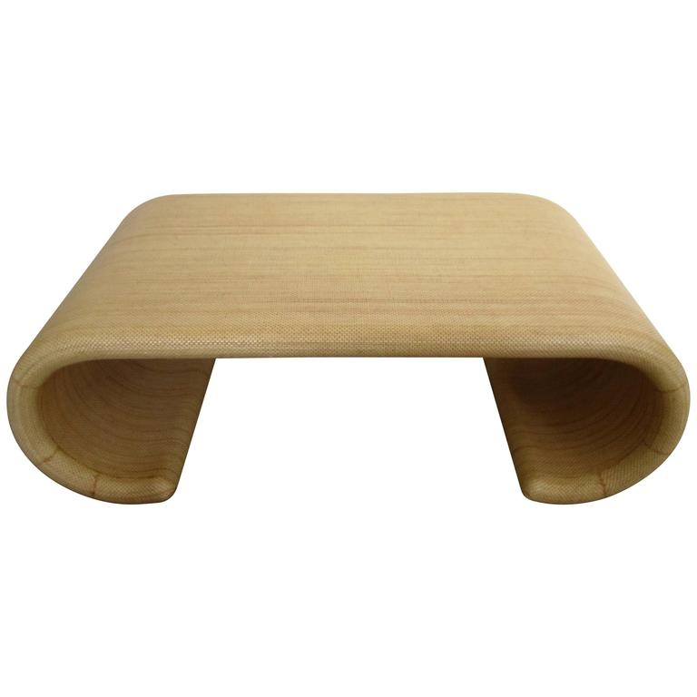 Modern scroll coffee table in the style of karl springer for Table th scroll