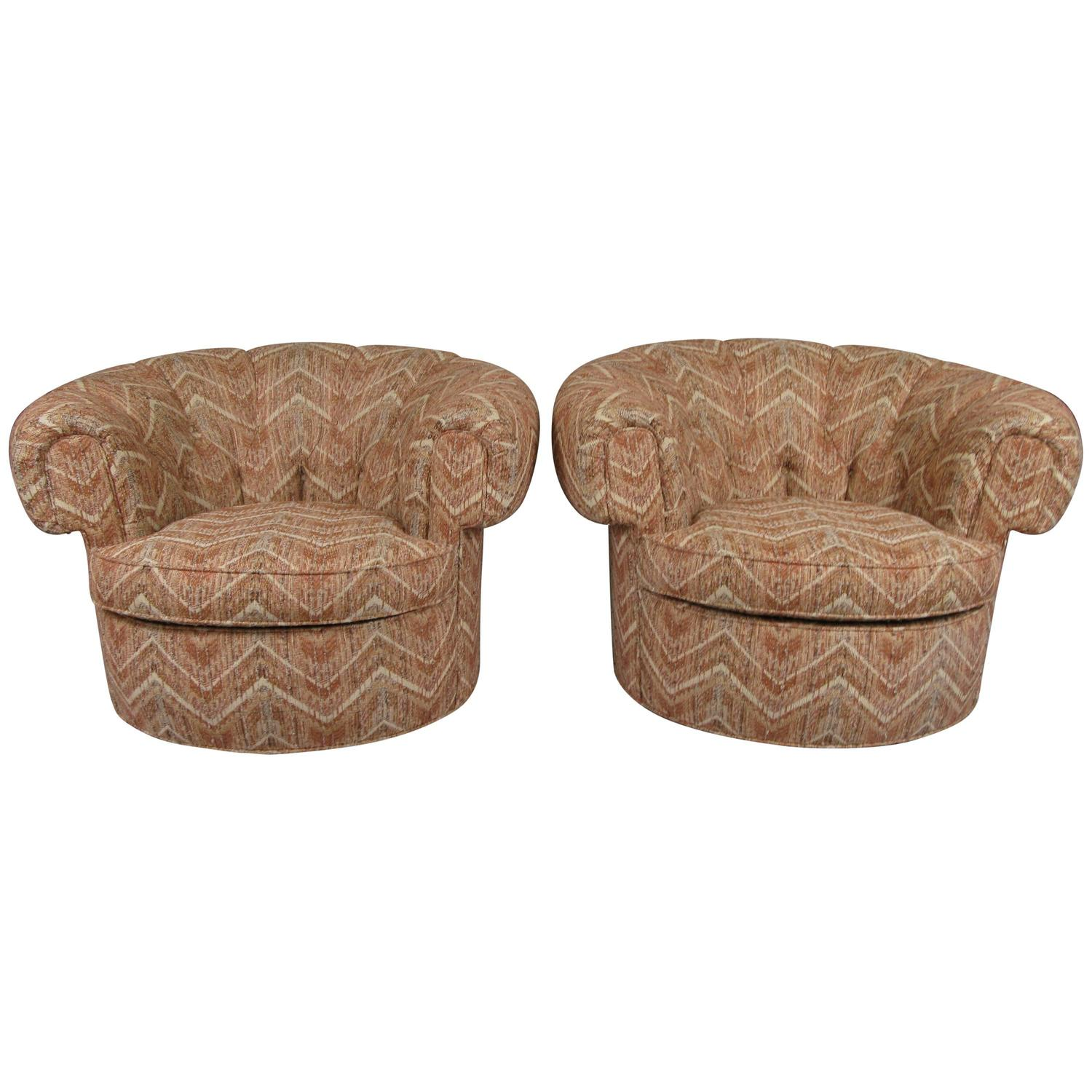 Pair of 1950s Circular Rolled Back Lounge Chairs For Sale at 1stdibs