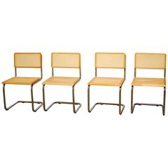 Marcel Breuer Style Chrome and Cane Chair Set
