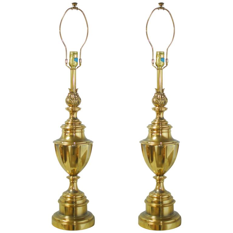 Pair of stiffel brass trophy urn table lamps at 1stdibs pair of stiffel brass trophy urn table lamps 1 aloadofball Images