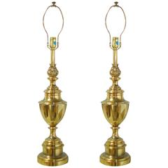 Pair of Stiffel Brass Trophy Urn Table Lamps