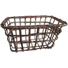 French, Handcrafted, Birch Bentwood Basket from 17th Century Basque Manor
