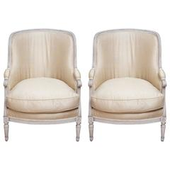 Pair of Vintage Louis XVI or Gustavian Style Bergeres