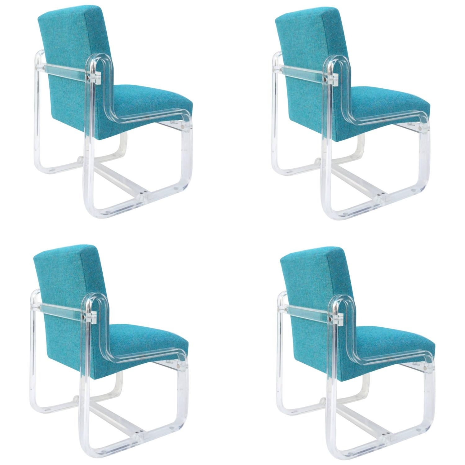 Set of Four Acrylic Dining Chairs by Vivid For Sale at 1stdibs