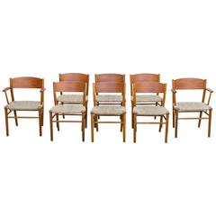 Vintage Børge Mogensen Set of Eight Grass Seat Dining Chairs