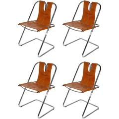 1960s Italian Set of Four Hand-Stitched Leather and Chrome Chairs
