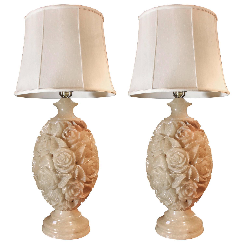 pair of carved white alabaster table lamps at 1stdibs. Black Bedroom Furniture Sets. Home Design Ideas