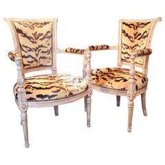 Pair of Louis XVI Painted Armchairs with Tiger Silk Velvet Upholstery