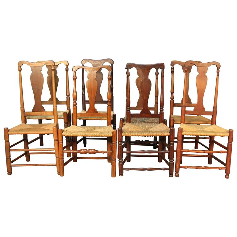 Set of eight Queen Anne chairs, 1700–40