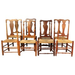 Set of Eight Early CT Country Queen Anne Chairs