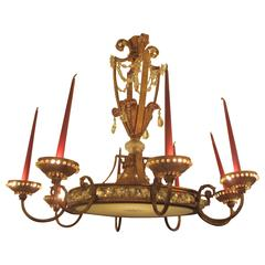 Exceptional Bagues Gilt-Iron and Crystal Chandelier with Eight Arms