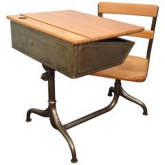 Child's School Desk with Attached Chair