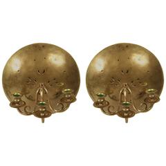 Pair of Danish Brass Wall Sconces