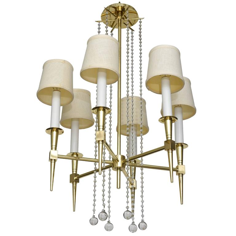 Polished Brass and Glass Beaded Chandelier by Tommi Parzinger