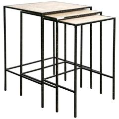 Set of Three Nesting Tables by E J Victor for Jack Fhillips Metal And Wood