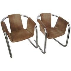 Postmodern Tubular Chrome Suede Sling Arm Cantilever Lounge Chairs, 1970s, Pair